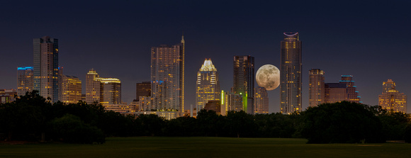 Austin's Super Moon -March 19, 2011 -with Skyline from Zilker Park -